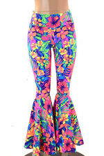 LARGE High Waist UV Glow Tahitian Floral Bell Bottoms Ready To Ship!