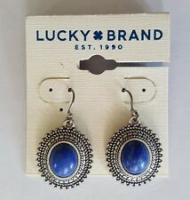 NWT Lucky Brand Earrings Silver Tone, Blue Semi Precious Stone JLD2162
