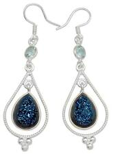 Blue Titanium Druzy Quartz,Blue Topaz Earrings Solid 925 Silver Jewelry IE19646