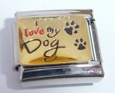 I LOVE MY DOG Italian Charm Gold Shiny - 9mm fits Classic Starter Bracelets E109