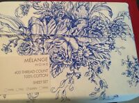 Melange Home King Sheet Set Toile Blue Ivory 400 tc Cotton New