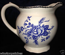 ENOCH WOOD & SONS ENGLAND COLONIAL ROSE BLUE PITCHER 24 OZ BLUE FLOWERS & WHEAT