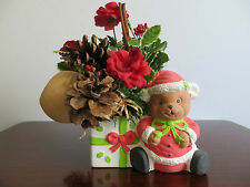 Christmas Ceramic Teddy Bear Centerpiece w/Candle Holder and Red Candle
