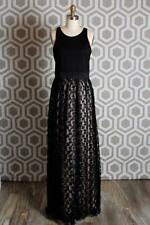 New Milly Stella Cheetah Gown Maxi Black Lace Skirt Dress 10 $595