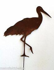 Storch Edelrost 35 cm + Stab Deko Garten