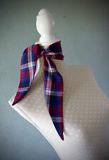 Red white and blue tartan hair scarf, retro rockabilly headband, wrap, bandana