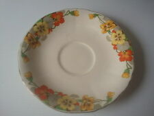 "VINTAGE Alfred Meakin - YELLOW & ORANGE FLOWERS ""BY"" Saucer - England (14.3cm)"