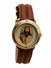 SWANSON: JESUS ANALOG LEATHER BAND WATCH