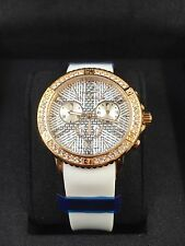 TED LAPIDUS White Silicone/Rose Gold/Crystal Womens Watch SWISS MADE!