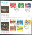 SURINAME Yvert # 724/8 + A 78/80 Fishes FDC