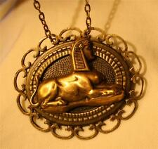 Handsome Sculpted Brasstone Egyptian Sphinx Sphynx Cat Necklace Brooch Pin