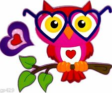 """5.5"""" OWL  VALENTINE HEART SET HOLIDAY  WINDOW CLING DECAL CUT OUT"""