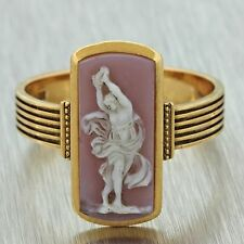 1920s Antique Art Deco Estate 18k Solid Yellow Gold Engraved Cameo Ring