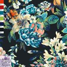 FS065 Floral Print with Black Background On High Quality Jersey Scuba Fabric
