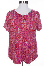 TRENDY LUCKY BRAND WOMEN'S RED LILAC CORAL SHORT SLEEVE HENLEY BLOUSE PLUS Sz 1X