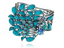 Faux Turquoise Beads Sapphire Crystal Rhinestone Peacock Bracelet Bangle S0377