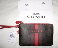 NEW Coach Varsity Corner Zip Wallet Wristlet Brown/True Red F66052 Box & Tissue