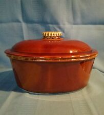 Hull Oven Proof USA Brown Drip Oval Covered Casserole Dish