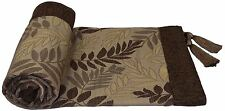 LEAVES LEAF BROWN BEIGE CHENILLE JACQUARD TASSELLED THROW BLANKET 145X180CM