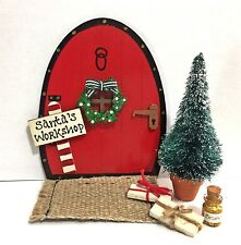 Handpainted Christmas Tree Fairy Door Set Santa Elves Elf Pixie - Personalised