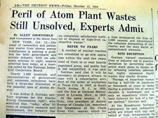1954 newspaper DISPOSAL of NUCLEAR PLANT RADIOACTIVE WASTE MATERIAL is UNSOLVED