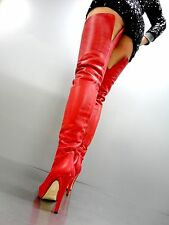 MADE IN ITALY PLATFORM OVERKNEE SEXY BOOTS STIEFEL STIVALI LEATHER RED ROSSO 39