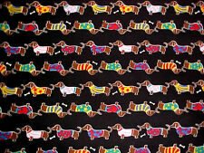 Dachshund Dog Fabric Doxies in Sweaters Weiner Puppy Sausage Pup Cotton 1/2 YD