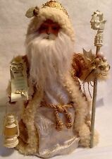 Vintage Santa Christmas Tree Topper / Centerpiece Ceramic Father Time Gold