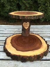 "Elm Wood Personalized 12"" Rustic Cake Cupcake Pie Stand Wedding 2 Tiered Tier"