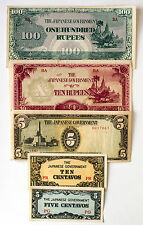 5 diff. Burma and Philippines WW2 1940's Japanese invasion paper money circ.-Au.
