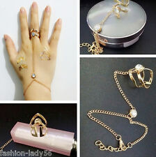 Women's Rhinestone Alloy Golden Bracelet Bangle With Attached Ring Slave Chain