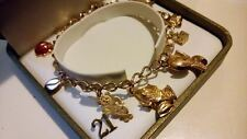 Beautiful 9ct 375 Solid Yellow Gold Traditional Charm Bracelet With 9 Charms***