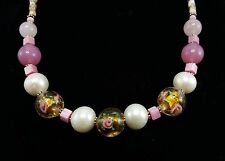 "White Pearl Necklace with Cloisonne and Glass Beads with Roses 18"" J47"