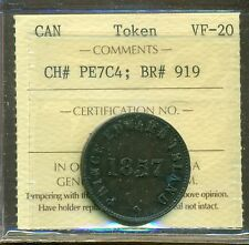 1857 Self Gov. & Free Trade Canada Token certified ICCS VF-20 BR# 919, PE7C4