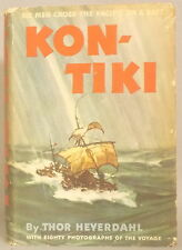 KON-TIKI by THOR HEYERDAHL 1950 FIRST EDITION with DUST JACKET Rand McNally