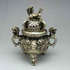 China folk collection Tibet silver copper statue two incense