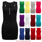LADIES SLEEVELESS STRETCH BODYCON PLAIN RACER BACK MUSCLE WOMENS RIB VEST TOP