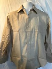Aldo Romano Mens Long Sleeve Button Beige Dress Shirt 15 32/33