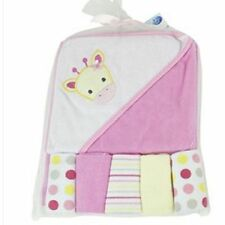 """Pink Girraffe"" Soft hooded Towels & 5 Wash Clothes Gift Set For Babies Toddlers"