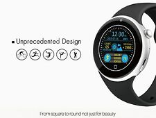 Round Screen Black Blue Silver Metal Smart iWatch2 Watch Mobile Phone Nano Sim