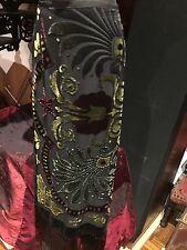 Antique Vintage Long Black Sik Velvet Beaded Peacock Feather Skirt