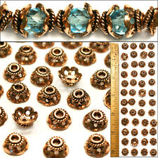 SOLID COPPER 10mm Bali Style Fancy Handmade Scalloped COIL Flower Bead Caps 50p