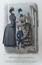 Vieux paris de la mode d'impression designs Garçons Costume Chapeaux Robes C1884 antique Gravure