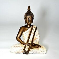 Large  Hand Painted Sitting Serene Meditating Lotus Thai Buddha Statue: 28cm