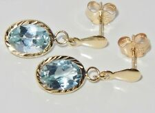 Beautiful 9ct Yellow Gold 2.50ct Aqua Blue Topaz Ladies Dropper Stud Earrings -