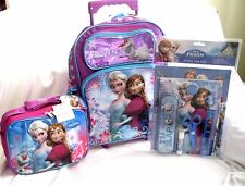 "Frozen 16"" Rolling Backpack,Lunchbox,Pencil Pouch,11 pc Stationary Set Combo-New"