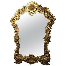 Large and Ornate Italian Rococo Style Gilt Wood Carved Hanging Mirror
