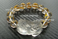 Feng Shui - 2015 Clear Quartz Mantra Pi Yao Bracelet (12mm beads)