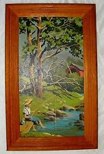 VINTAGE PAINT BY NUMBERS MOUNTAIN STREAM BOY FISHING BRIDGE PAINTING 1960S