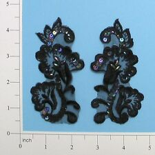"E2702 Black Venise Lace Sequin Applique Pair 4"" ~Adorable~Set~Floral"